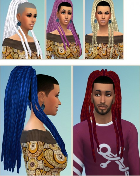 Birksches sims blog: Ebonix Nouk Dreads hair converted for Sims 4