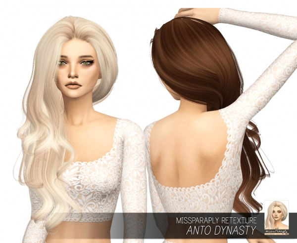 Miss Paraply: Anto`s Dynasty hair retextured for Sims 4