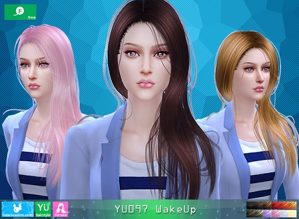 NewSea: YU 097 WakeUp  hair for Sims 4