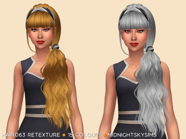 Simsworkshop: Hair 063 Retextured by midnightskysims for Sims 4