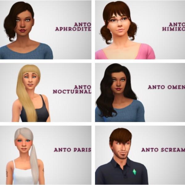 Swirl Goodies: Anto`s hairs retextured for Sims 4