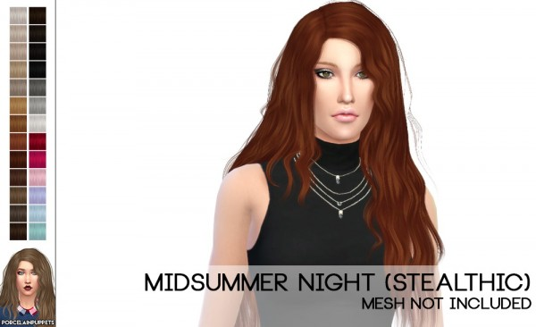 Porcelain Warehouse: Stealthic`s Midsummer Night and Vivacity hairs retextured for Sims 4