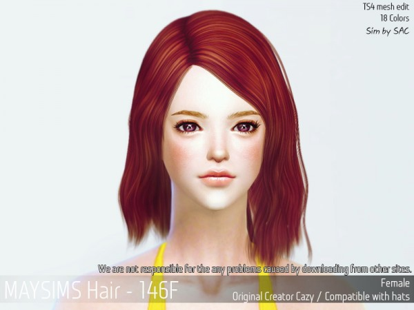 MAY Sims: May 146F hair for Sims 4