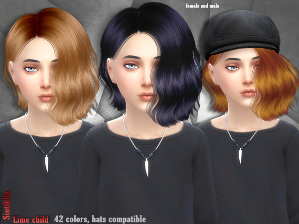 Sintiklia Sims: Lime hair for girls for Sims 4