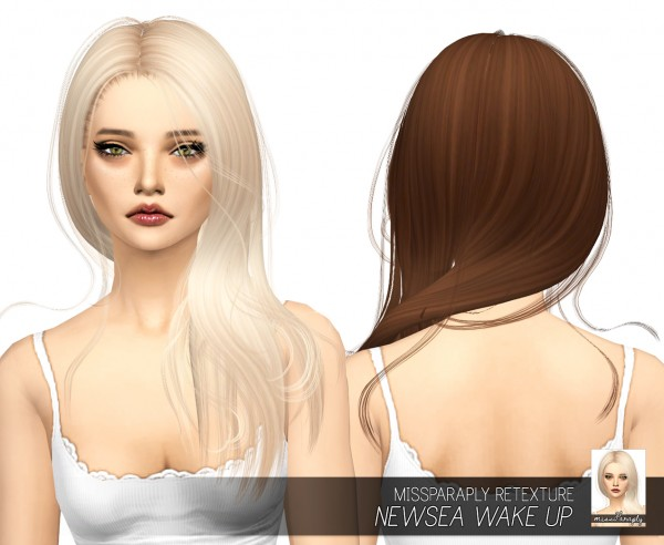 Miss Paraply: Newsea`s Wake Up hair retextured for Sims 4