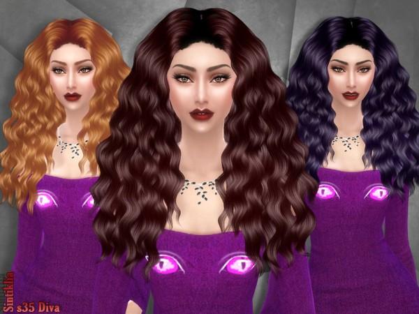 Sintiklia Sims: Diva 35 hair for Sims 4