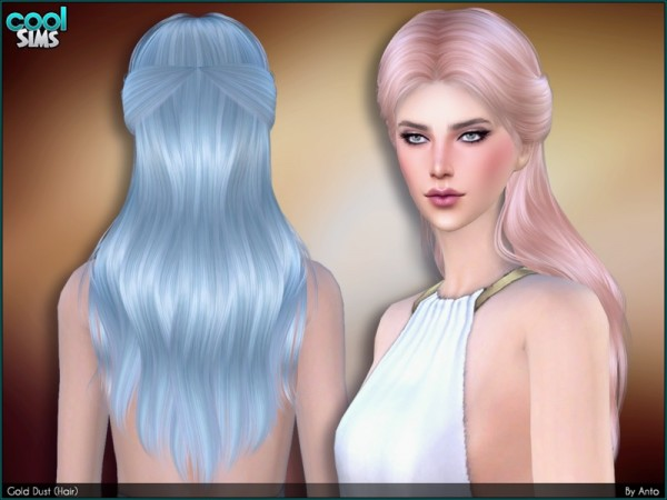 The Sims Resource: Gold dust hair by Anto for Sims 4