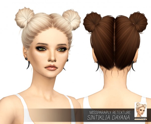 Miss Paraply: Sintiklia`s Dayana hair retextured for Sims 4