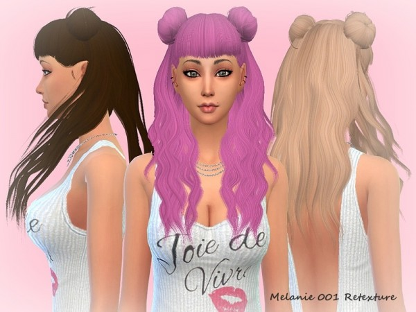 The Sims Resource: LeahLilith`s Melanie 001 hair retextured by mikerashi for Sims 4