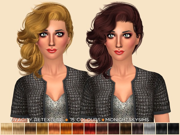 The Sims Resource: Stealthic Vivacity hair retextured by midnightskysims for Sims 4
