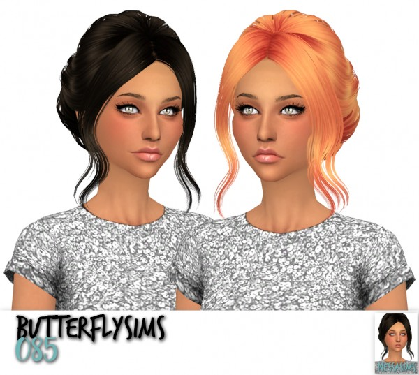 Nessa sims: Butterfly`s 049, 078, 085, 086, 091,092 hair retextures for Sims 4