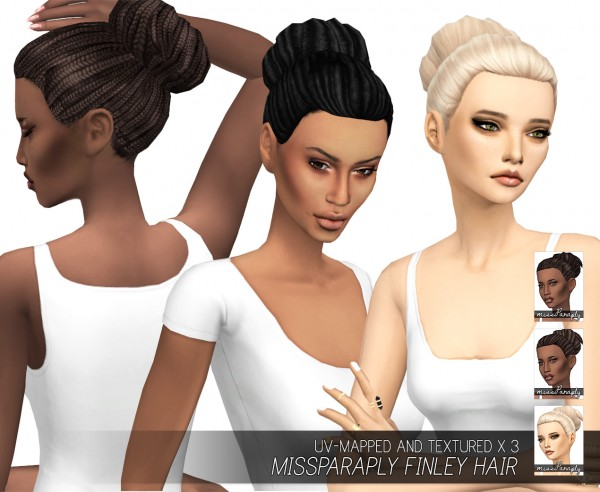Miss Paraply: Finley hairs: dreads, box braid, and flat textures for Sims 4