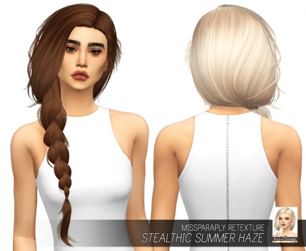 Miss Paraply: Stealthic`s Summer Haze hair retextured for Sims 4