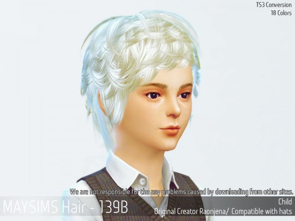 MAY Sims: Hair 139B retextured for Sims 4