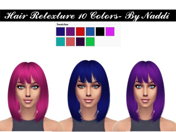 The Sims Resource: Retextured Hair by Naddiswelt for Sims 4