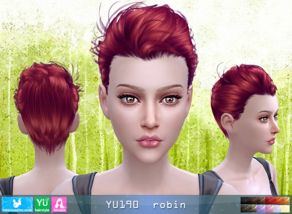 NewSea: YU190 Robin hair for her for Sims 4