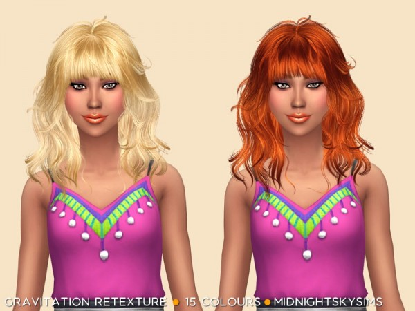 Simsworkshop: Gravitation hair retextured by midnightskysims for Sims 4