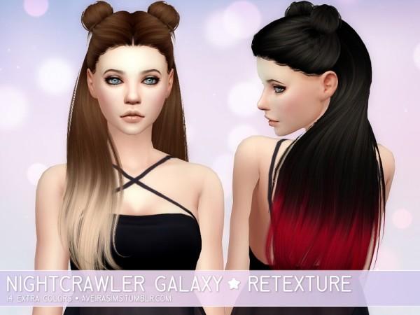 Aveira Sims 4: Nightcrawler`s Galaxy hair retextured for Sims 4