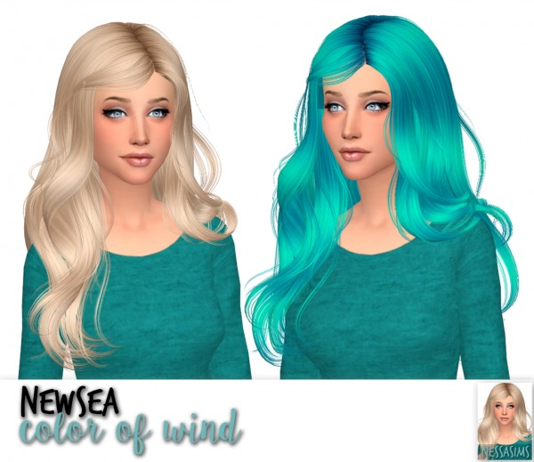 Nessa sims: Newsea`s Capriccio color of wind and disappear hair for Sims 4