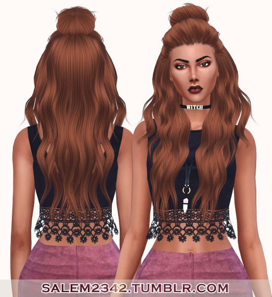 Salem2342: LeahLillith`s Night hair retextured for Sims 4