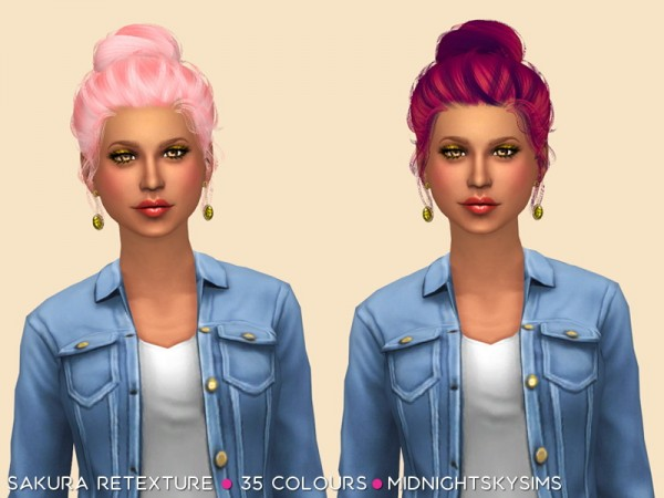 Simsworkshop: Sakura unnatural hair retextured by midnightskysims for Sims 4