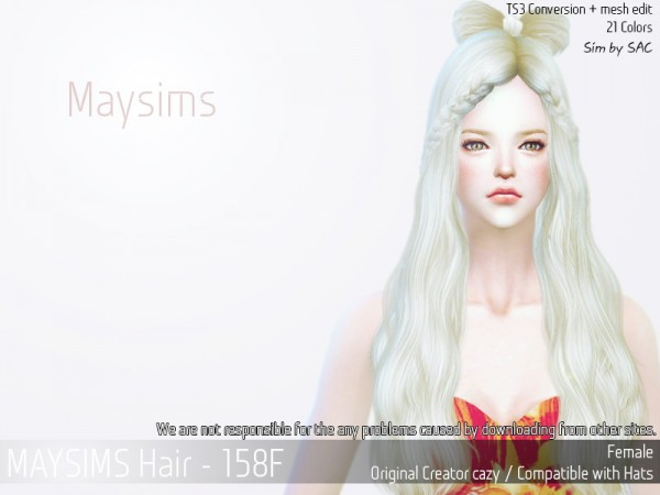 MAY Sims: May 158 hair retextured for Sims 4