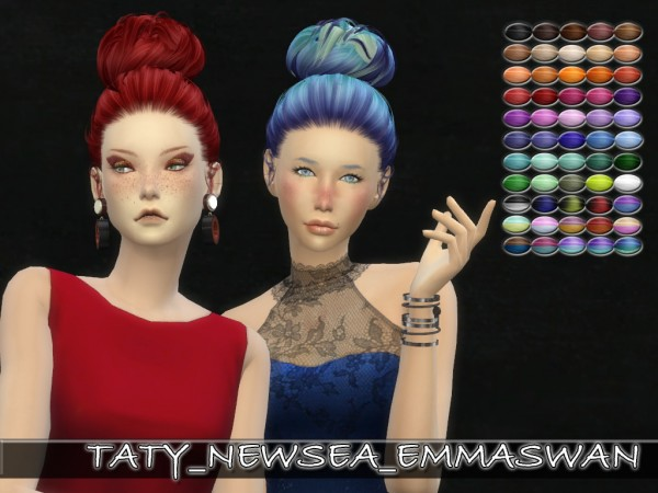 Simsworkshop: Newsea`s Emma Swan hair retextured by Taty for Sims 4