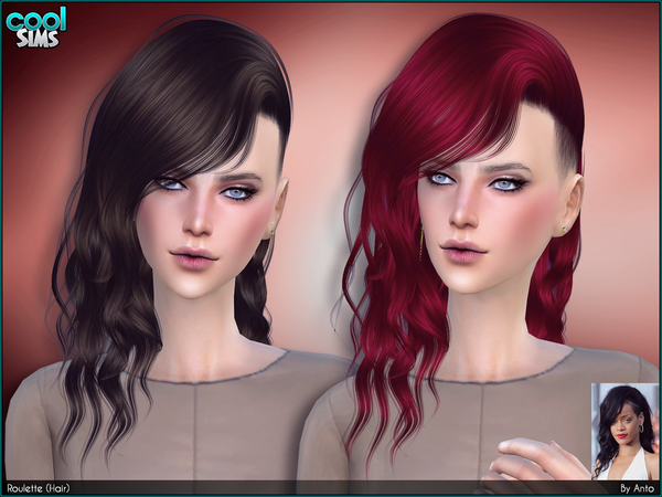 The Sims Resource: Anto Roulette hairstyle for Sims 4