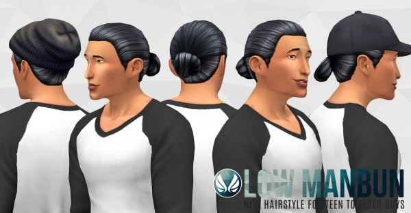 Simsational designs: Low Bun hair for Sims 4