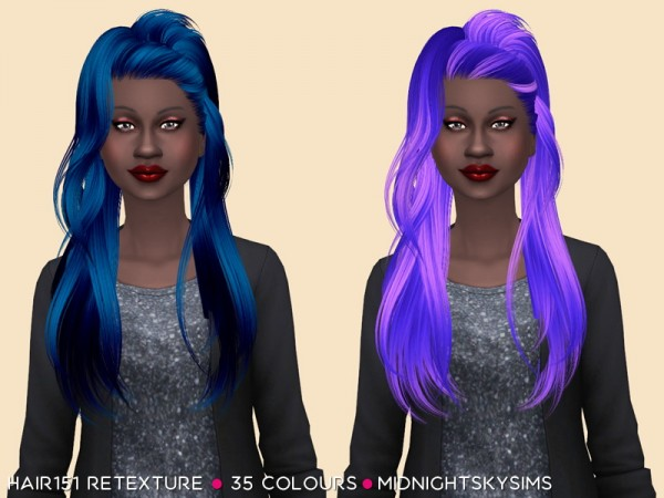 Simsworkshop: Hair 151 hair retextured   unnatural color by midnightskysims for Sims 4
