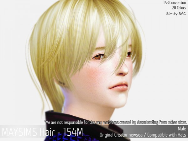 MAY Sims: May 154 M hair retextured for Sims 4