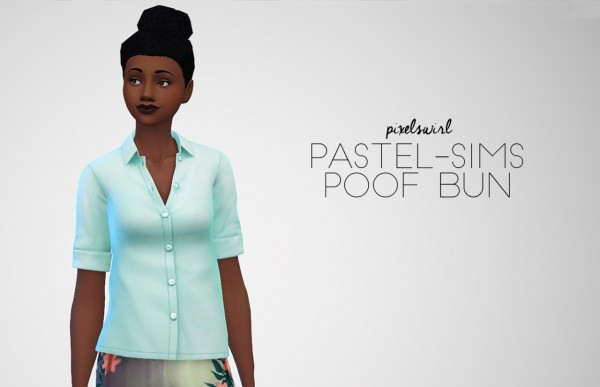 Swirl Goodies: Bambi braids, Sweet, Sawyer and Poof bun hairs retextured for Sims 4
