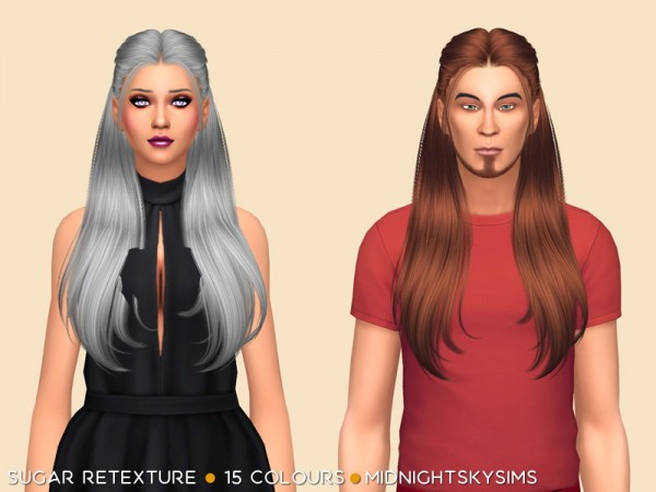 Simsworkshop: Sugar hair retextured natural colors by midnightskysims for Sims 4