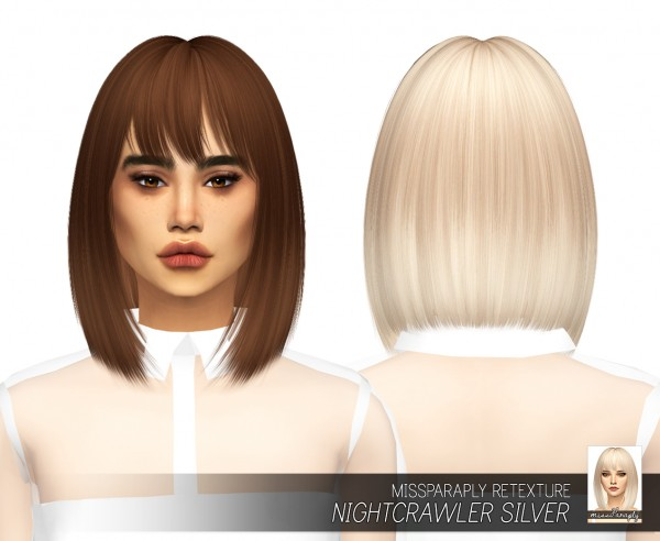 Miss Paraply: Nightcrawler`s Silver hair retextured for Sims 4