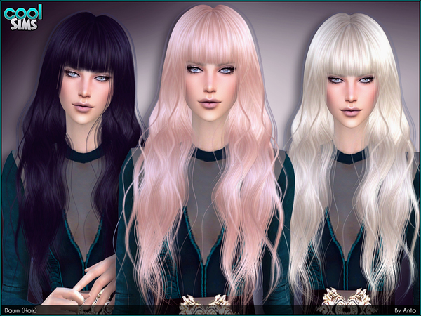 The Sims Resource: Down hair by Anto for Sims 4