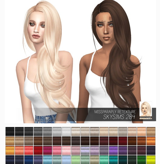 Miss Paraply: Skysims 284 hair retextured for Sims 4