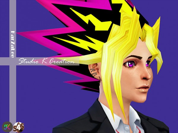 Studio K Creation: Yami yugi animate hair 45 for Sims 4