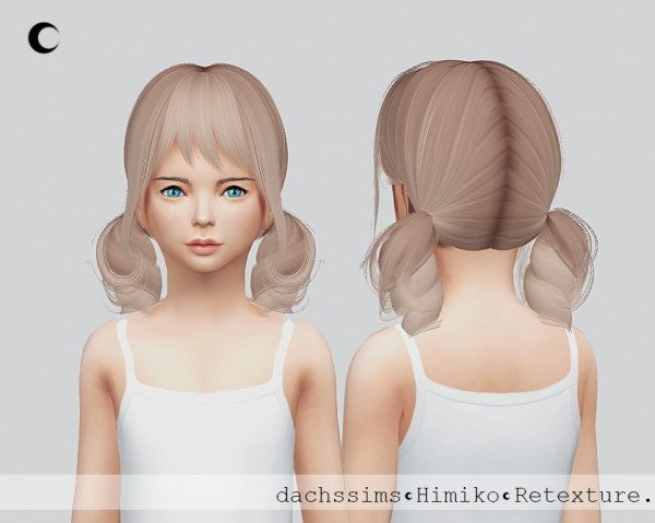 Kalewa a: Himiko hair retextured for girls for Sims 4
