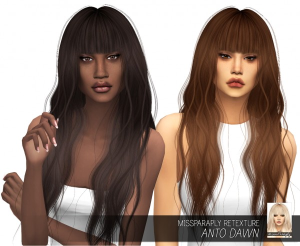 Miss Paraply: Anto`s Dawn hair retextured for Sims 4