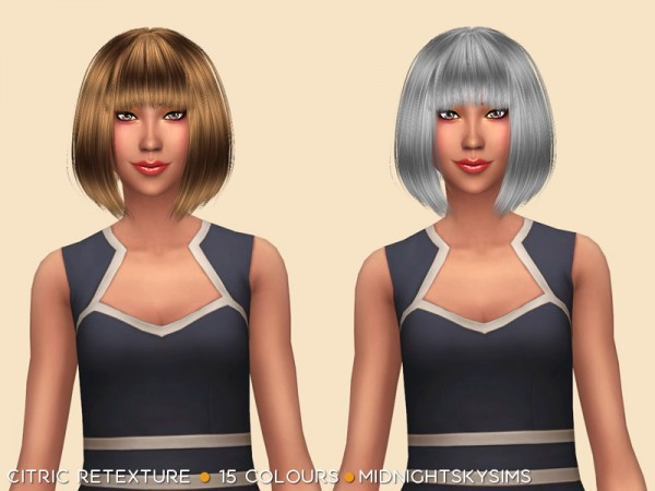 Simsworkshop: Citric hair retextured by midnightskysims for Sims 4