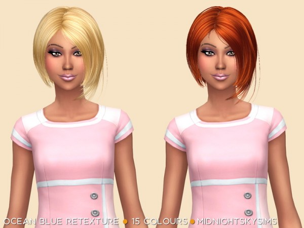 Simsworkshop: Ocean Blue Retexture hair by midnightskysims for Sims 4