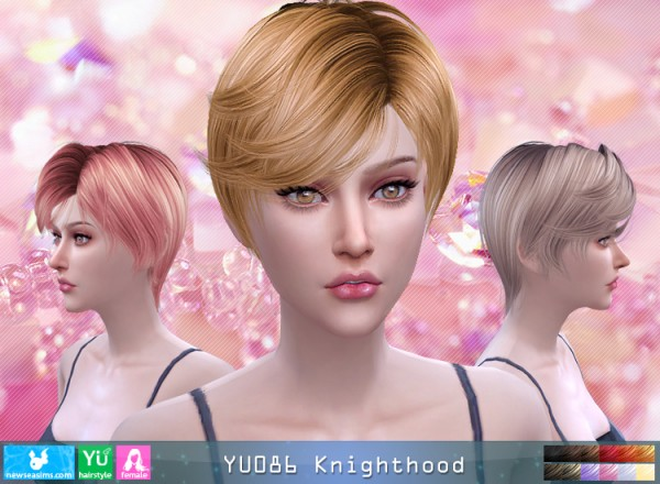 NewSea: YU086 Knightwood hair for her for Sims 4