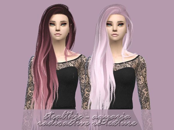 The Sims Resource: Stealthic Aquaria hair retextured by radioactive mess for Sims 4