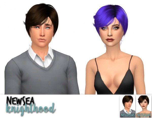 Nessa sims: Newsea`s knighthood, Miles Away and Robin hairs retextured for Sims 4