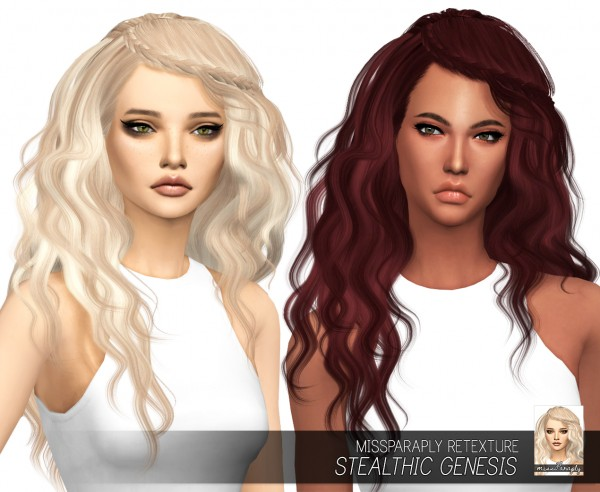 Miss Paraply: Stealthic`s Genesis hair retextured for Sims 4