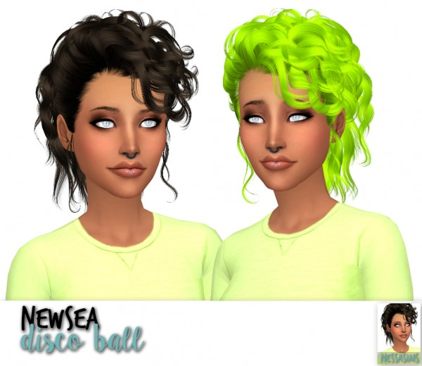 Nessa sims: Newsea`s Disco Ball, Disco heaven and Mhysa hairs retextured for Sims 4