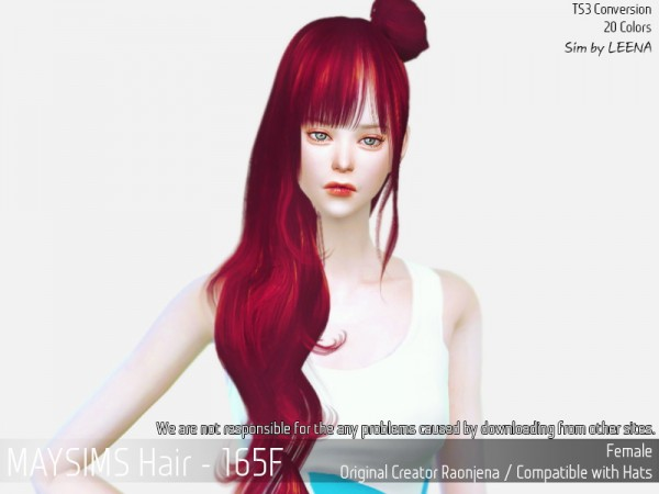 MAY Sims: May 165 F hair reetxtured for Sims 4