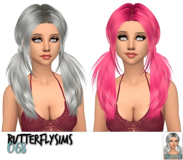Nessa sims: Butterfly`s 068,144 and 155 hairs retextured for Sims 4