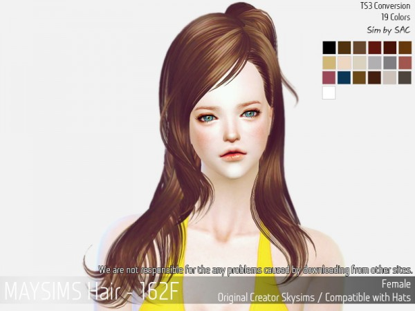 MAY Sims: Hair 162 F hair retextured for Sims 4