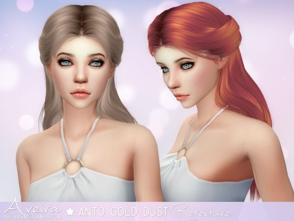 Aveira Sims 4: Anto`s Gold Dust hair retextured for Sims 4